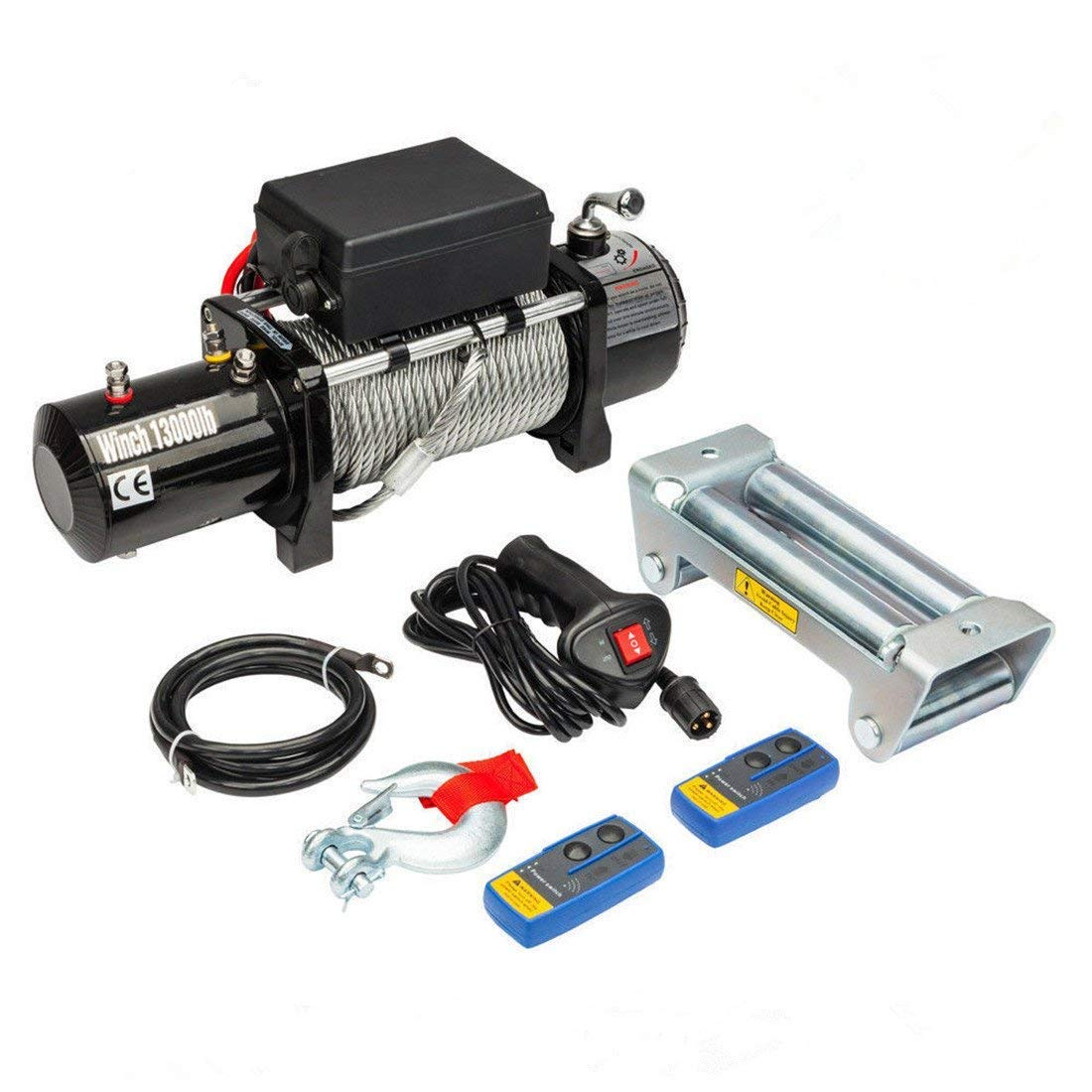 Qiilu Recovery Winch 3000lbs Electric Recovery Winch 12V Wire Remote Control Kit for Truck SUV ATV Tow Boat Trailer