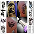 Temporary Tattoos for Guys for Men - Fake Tattoo, Biker Tattoos, Rocker Stickers for Arms Shoulders Chest & Back - Boys Tattoos Body Art Tattoo Sticker Waterproof Large Transfers 8 Sheets (Mars) by Sovereign-Gear