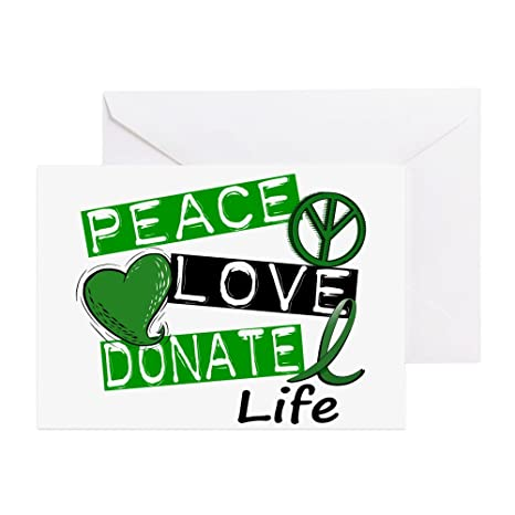 Amazon cafepress peace love donate life l1 greeting cards cafepress peace love donate life l1 greeting cards pk of greeting m4hsunfo