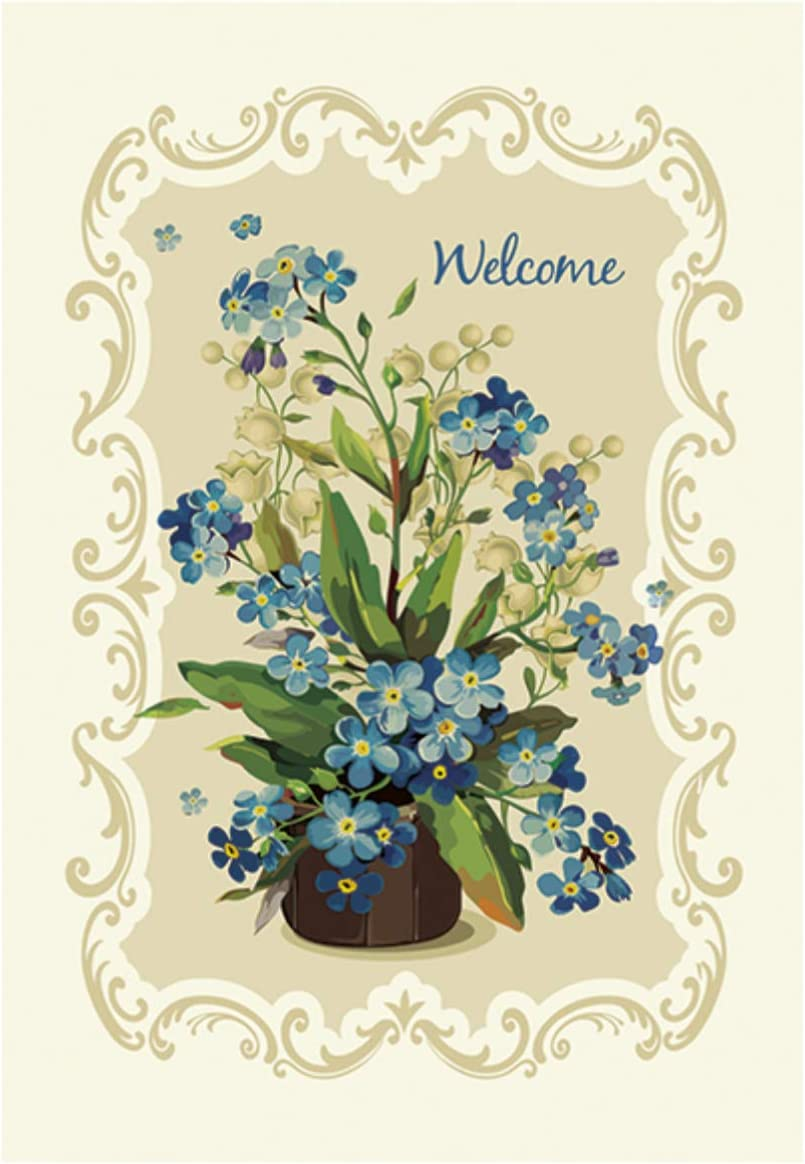 Morigins Welcome Fabulous Flowers Decorative Spring Double Sided House Flag 28x40