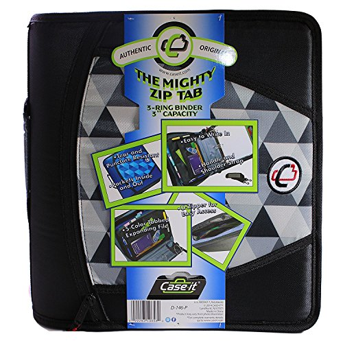 Case-it Mighty Zip Tab 3-Inch Zipper Binder, Printed Black, Design may vary (Camouflage or Geometric)