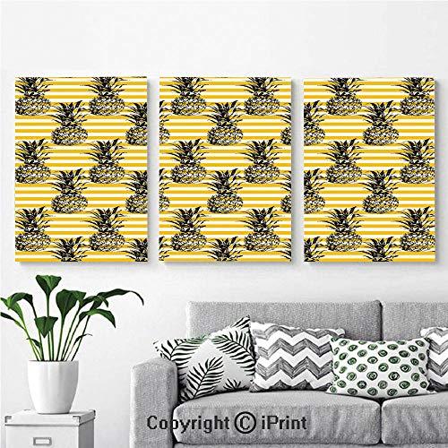 - Modern Salon Theme Mural Modern Pineapple Motif on Minimalist Backdrop Kitschy Popular Digital Decorative Painting Canvas Wall Art for Home Decor 24x36inches 3pcs/Set, Earth Yellow White Black