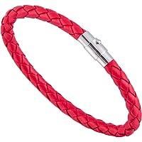 VALENTES Handmade Leather Braid Bracelet for Men Stainless Steel Magnetic Clasp