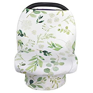 Nursing Cover Breastfeeding Scarf, Car Seat Covers for Babies Infant Carseat Canopy, Stretchy Soft Breathable Multi-Use Cover Ups for Stroller High Chair Shopping Cart, Baby Shower Gift for Boys Girls