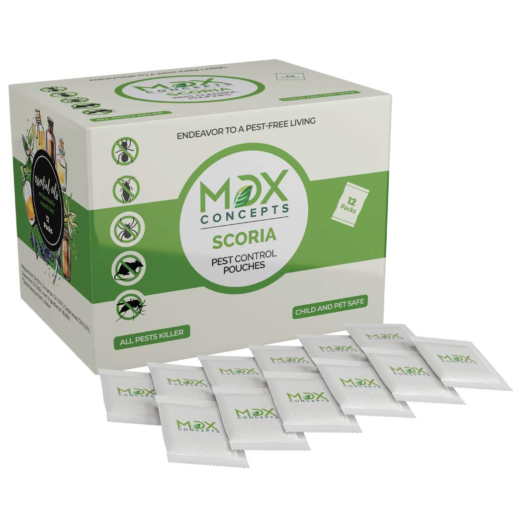 mdxconcepts Scoria Natural Pest Control Pouches -Pack of 12 -Repels Rodents, Spiders, Roaches, Ants and Other Pests -Easy to Use -100% Natural by mdxconcepts