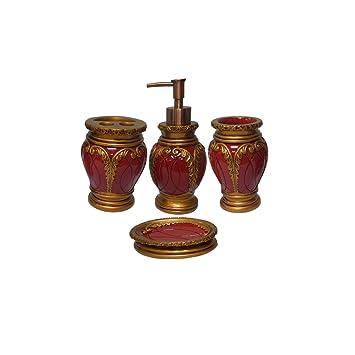 Dream Bath Burgundy Latern Bath Ensemble 4 Piece Bathroom Accessories Set  Luxury Bath Accessory Red Bath