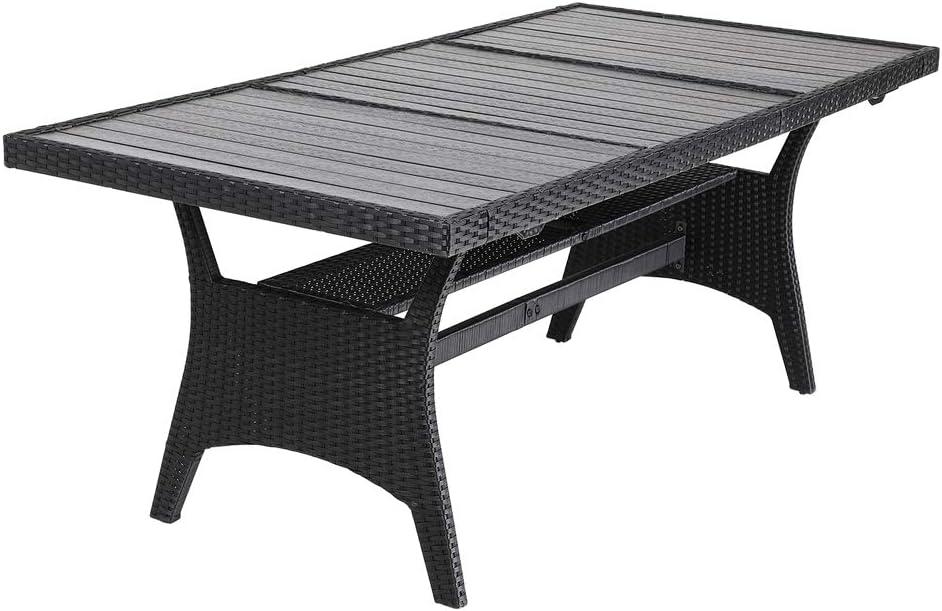 Casaria Mesa de jardín para 8 personas con tablero de madera compuesta 190x90x75cm para exterior interior jardín terraza