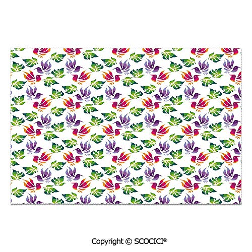 SCOCICI Set of 6 Heat Resistant Non-Slip Table Mats Placemats Origami Art Style Inspired Fractal Bird Figures with Exotic Leaf Details Design Decorative for Dining Kitchen Table -