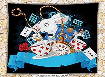 Alice in Wonderland Decorations Fleece Throw Blanket Rabbit Amazing with Motion Cups Hearts Rose Flower Character Alice Cartoon Throw