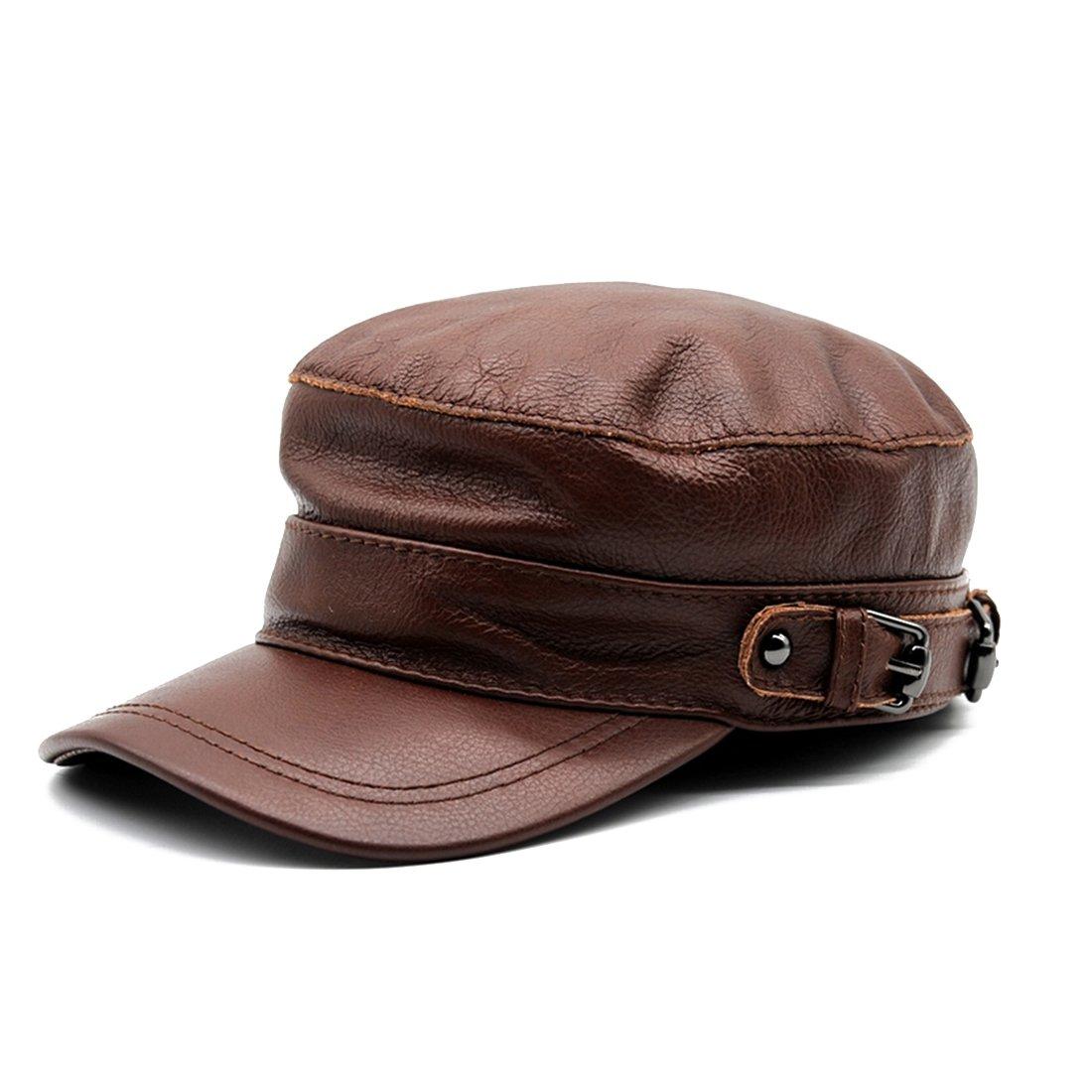 Maylian Fashion Genuine Leather Boy Baseball Hat Flat Top Cap Men