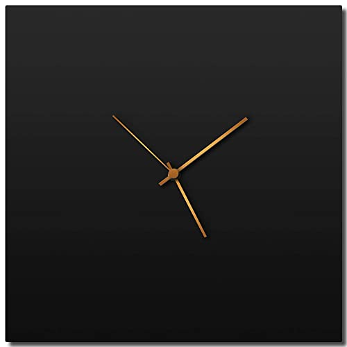 Modern Wall Clock Blackout Bronze Square Clock Contemporary Black Home Kitchen Decor – Minimalist, Silent Sweep Hands
