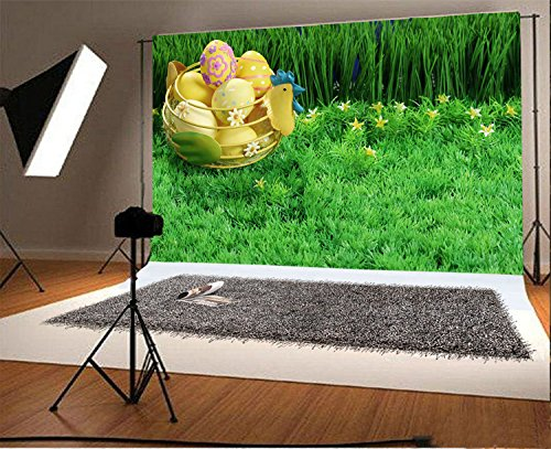 Laeacco 9x6ft Vinyl Photography Backdrop Happy Easter Painted Eggs Flowers Chicken Green Grass Field Plants Spring Photo Background Children Baby Adults Portraits (Field Grass Light Green)
