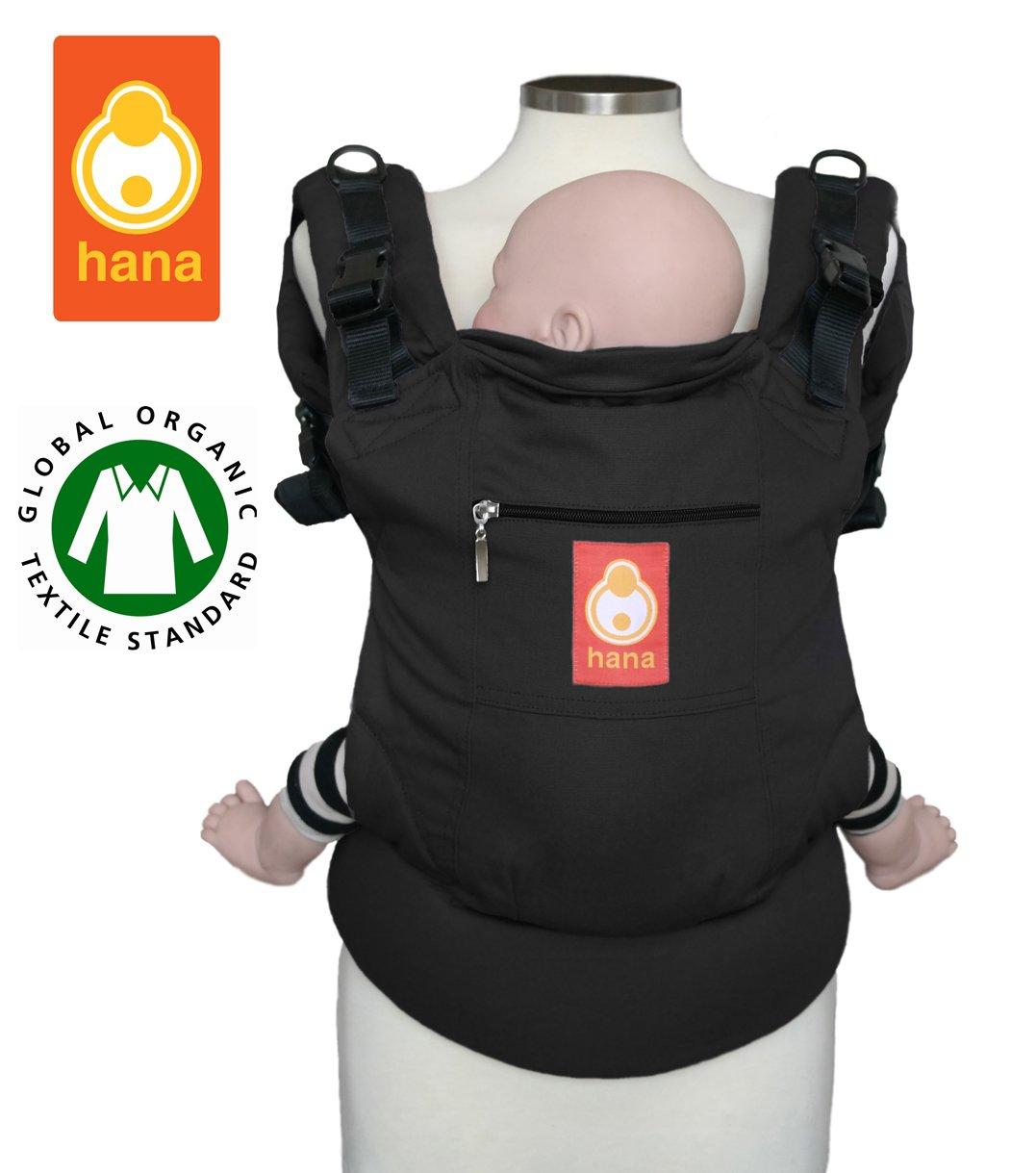 Hana Baby Carrier - Bio baumwolle Bauch und Ruck Babytrage. 3.5-20kgs (Black) Hanababy