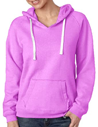 9ffa2a64d J. America - Women's Sueded V-Neck Hooded Sweatshirt - 8836