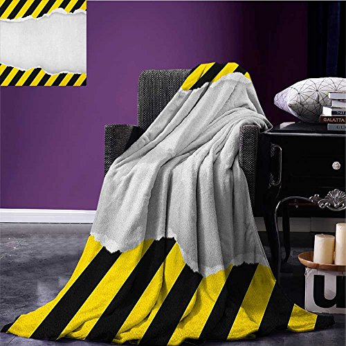 Construction Custom blanket Ripped Paper with Construction Sign Safety Warning Alert Framework all weather blanket Yellow Black White size:59