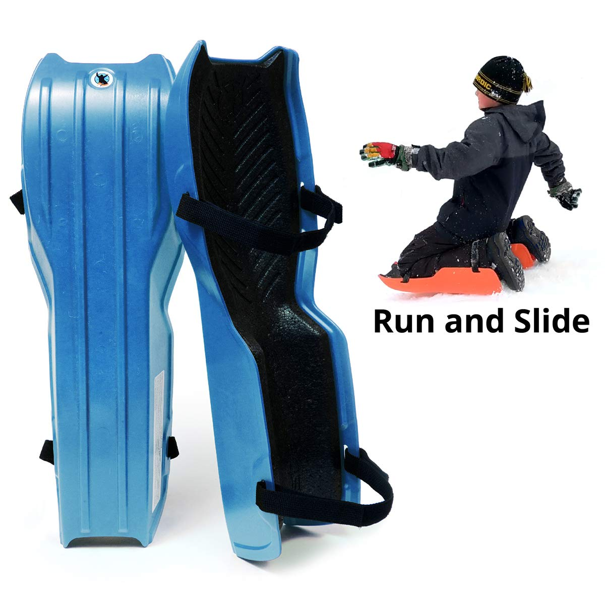 Sled Legs Wearable Snow Sleds – Fun Winter Accessories with Leg Support – Family Friendly Winter Activities – Exciting Winter Fun in The Snow (Winter Blue, Small)