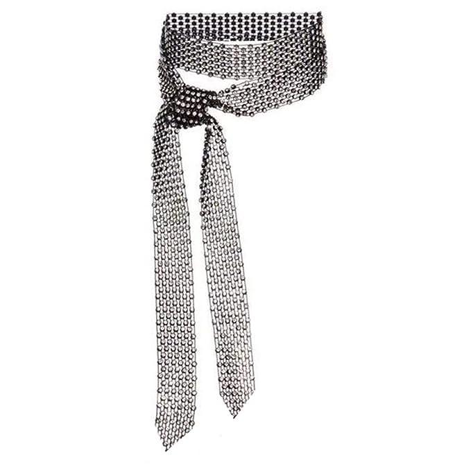1920s Shawls, Wraps, Scarves, Fur Stoles Fashion Sparkle Woman/Men Rhinestone Long Necktie Neckwear Choker Belt Versatile AccessoryBirthday/Valentines Day Gifts  AT vintagedancer.com
