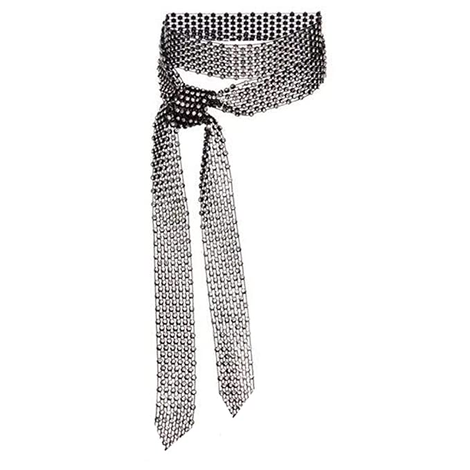 Vintage Inspired Scarves for Winter Fashion Sparkle Woman/Men Rhinestone Long Necktie Neckwear Choker Belt Versatile AccessoryBirthday/Valentines Day Gifts  AT vintagedancer.com