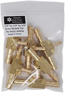 Brass Barbed Tee 3 Way Fitting 1/4 inch by 1/4 inch by 1/8 inch Hose Connector fittings for air, fuel, water lines (1)