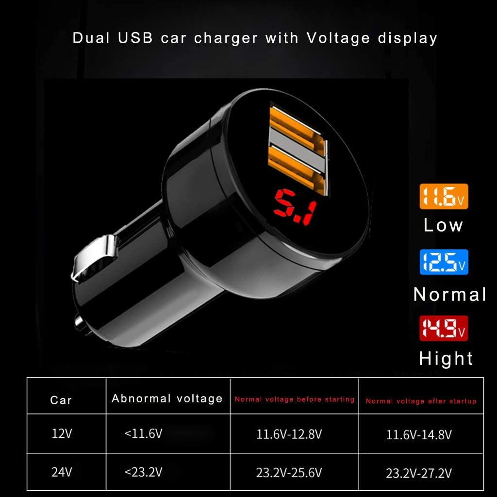 Dsxnklnd Digital LED 12V//24V Dual Ports 3.1A USB Car Charger Voltmeter Power Adapter for Mobile Phone Tablet GPS