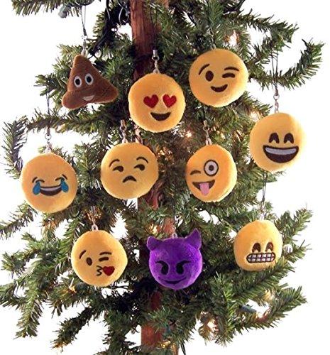 Dubster Brand Plush Emoji Emoticon Face Hanging Ornaments, 3 Inch, Set of 10