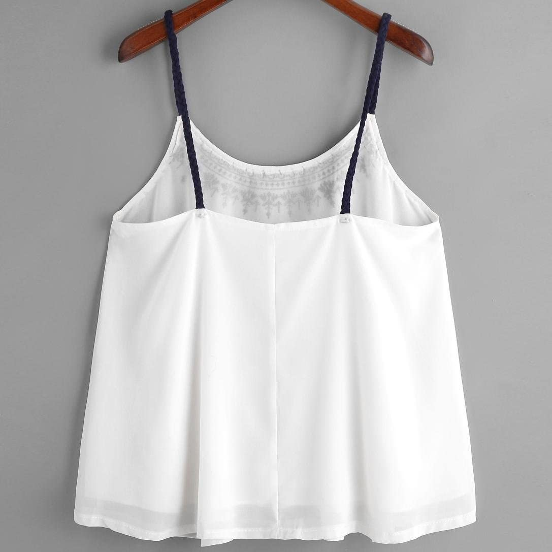 CUCUHAM Women Sleeveless Tank Tops Embroidered Chiffon Cami Top Blouse