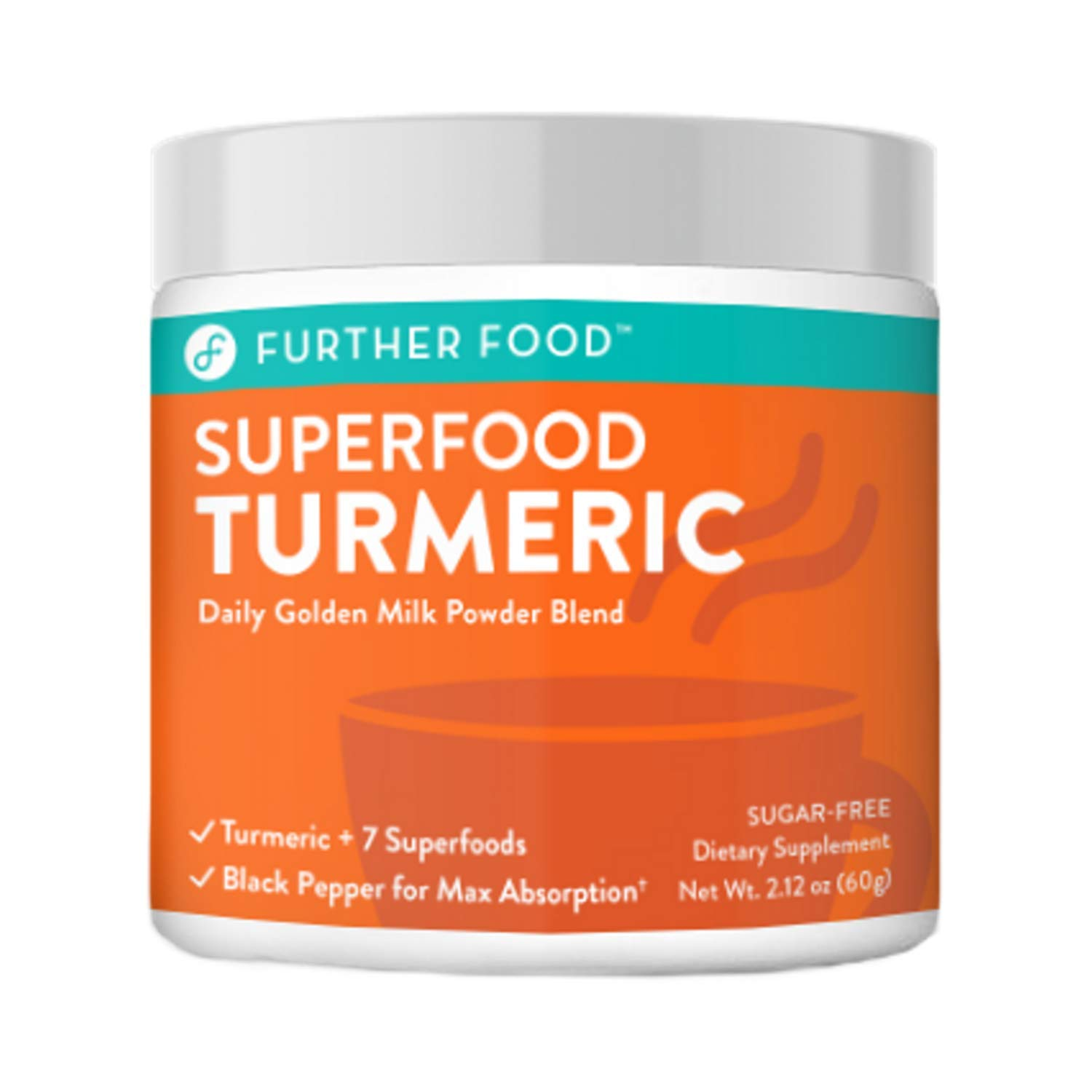 Further Food Superfood Turmeric Golden Milk Powder Boosted with 7 Superfoods Adaptogens Sugar-Free, Non-GMO, Vegan 90 Servings