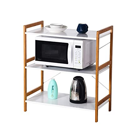 Cool Microwave Oven Shelf 3 Tier Wooden Display Decoration Shelf Home Interior And Landscaping Synyenasavecom