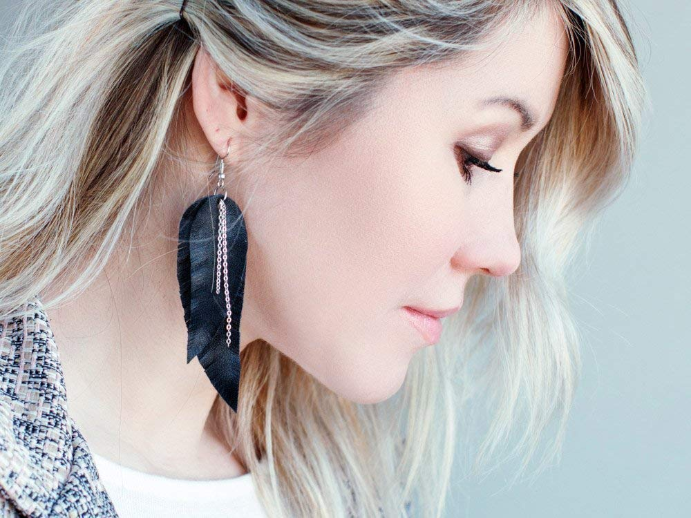 Boho earrings long earrings tribal Earrings dangle earrings layered earrings Black Feather Leather Earrings