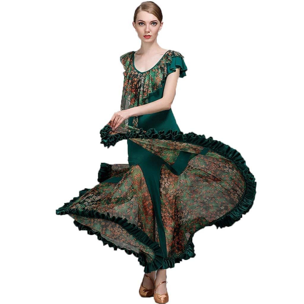 柔らかい 現代のダンスのスカートのパフォーマンスのドレスの女性のサテンのスカートのスカート全国標準の社交ダンスの衣装 B07QC7D6P6 B07QC7D6P6 S s グリーン S s グリーン S s, 留別村:63f30a20 --- a0267596.xsph.ru