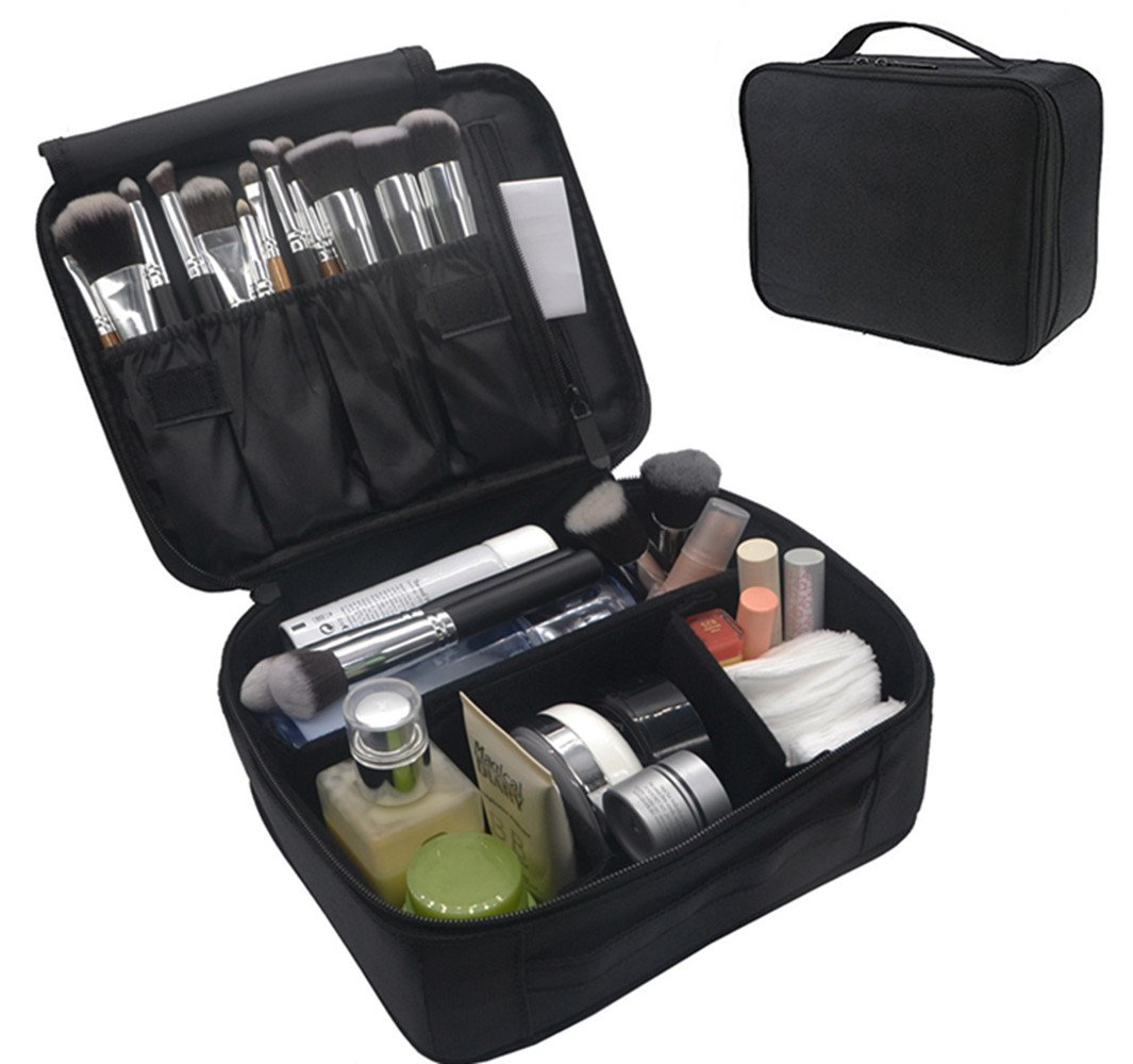 Portable Makeup Train Case, FLYMEI Waterproof Cosmetic Organizer Kit Make Up Artist Storage for Cosmetics, Makeup Brush Set, Jewelry, Toiletry And Travel Accessories (Black)