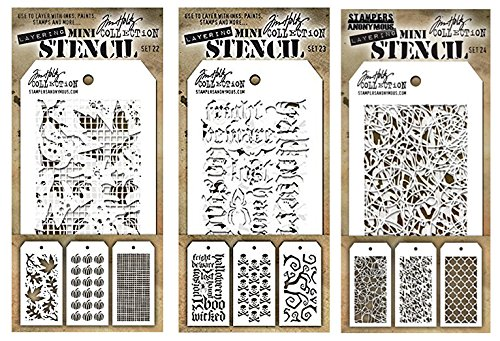 Tim Holtz - Nine Mini Stencils - Autumn, Pumpkins, Linen, Halloween Script, Crossbones, Twisted, Doodle, Heartstruck, and Trellis - aka sets 22, 23, & 24]()