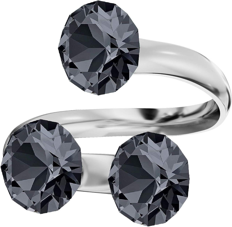 Beforya Paris - Anillo triple de plata de ley 925 para mujer, con cristales Swarovski® Elements, en muchos colores, tamaño ajustable ¡Elegancia absoluta! PIN/75