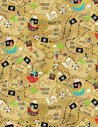 Timeless Treasures Treasure Island Pirate Quilt Fabric (Quilt Fabric Timeless Treasures)