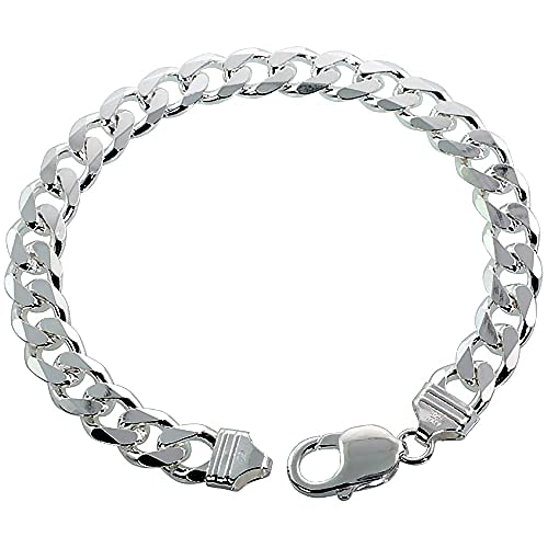Sterling Silver Thick 9-17 mm Curb Link Bracelets Nickel Free Italy 7-10 inches
