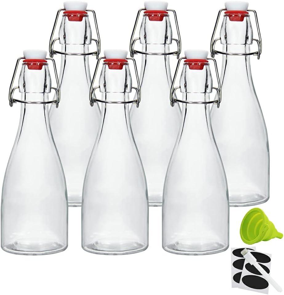12oz Swing Top Bottles -Glass Beer Bottle with Airtight Rubber Seal Flip Caps for Home Brewing Kombucha,Beverages,Oil,Vinegar,Water,Soda,Kefir (6 Pack)