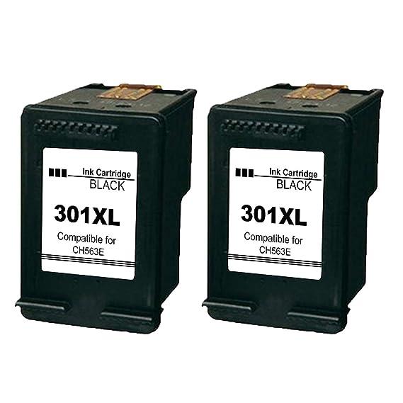 Ksera Remanufacturado HP 301 XL HP 301 Cartuchos de Tinta de Alto Rendimiento Paquete de 2-Negro (CH563EE) Compatible con HP Deskjet 1000 1010 1050 ...