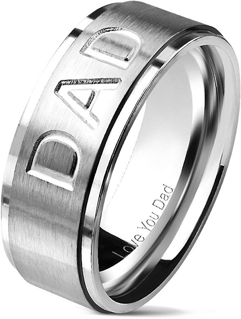 S/&H JEWELRY DAD Deep Cut Center and Love You Dad Engraved Inside of Ring Stepped Edges Black IP Stainless Steel Rings