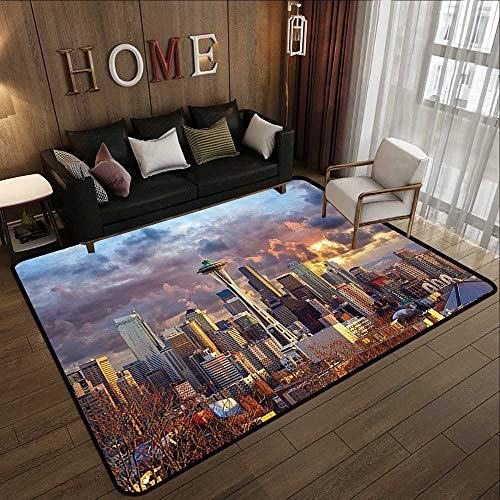 Bath Rugs for Bathroom Non Slip,Apartment Decor Collection,Seattle Skyline at Sunset WA USA Sun Lights Through Dramatic Clouds Scene Pattern,Grey Blue I 59'x 71' Front Mat Home Decorative Carpet