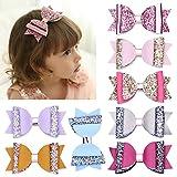 DANMY Girls Hair Clips Shiny Diamond Crown Children Hairpin Princess Barrettes Hair Accessories (Bow 8pcs(as Shown))