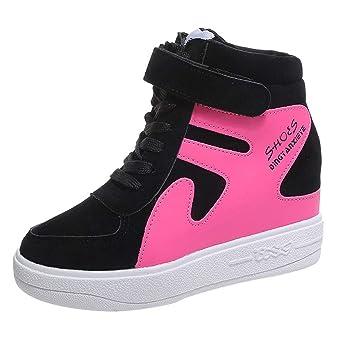 BBestseller Zapatillas de Deportivos de Running para Mujer de Aumento de zapatos planos casuales planas con zapatos de mujer de color a juego a prueba de ...