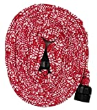 yeiser research and development - HydroHose Designer Series Expandable Garden Hose (50' Plastic) Red Floral with Spray Nozzle