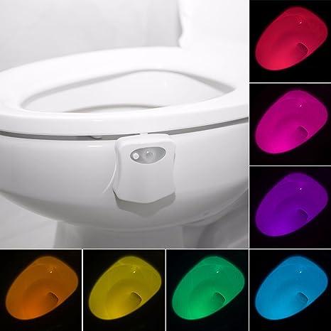 Luz del LED del tocador, sensor de movimiento colorido Luz de la noche del tocador