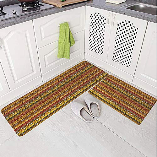 2 Piece Non-Slip Kitchen Mat Rug Set Doormat 3D Print,Pattern Ancient Indigenous Motif with Native,Bedroom Living Room Coffee Table Household Skin Care Carpet Window Mat,