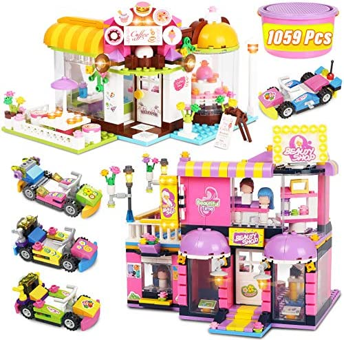 Friends Café Coffee House Building Kit for Girl 6-12, Hair Salon Building Blocks Toy House, STEM Learning Educational Roleplay Building Preschool Toy Kit Gifts for Girl Boy Kids Toy,1059Pcs