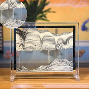 Feili Moving Sand Art Picture Sandscapes in Motion Office Desktop Art Decor Toys Gold