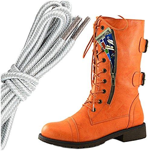 Dailyshoes Womens Militaire Lace Up Boucle Bottes De Combat Mi Genou Haute Carte De Crédit Exclusive Poche, Gris Blanc Sassy Orange