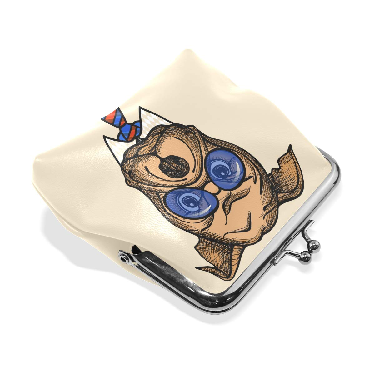 LALATOP Fashion Bulldog Portrait Womens Coin Pouch Purse wallet Card Holder Clutch Handbag