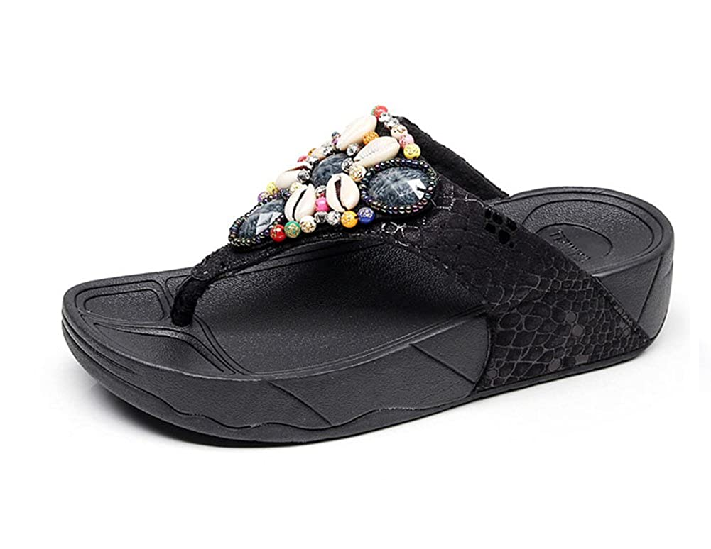 Tuoup Womens Jeweled Leather Platform Thong Sandles Flip Flop