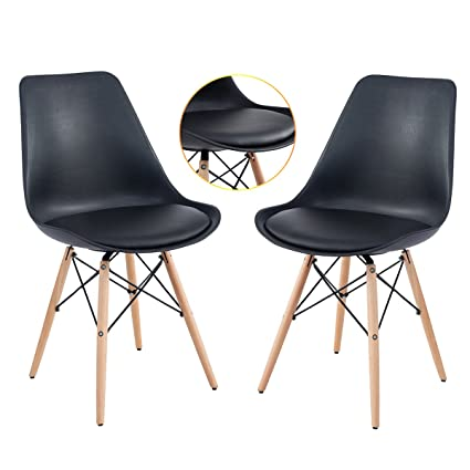 Dining Chairs EamesStyle Soft Padded Seat Modern Plastic With Wood Legs Set